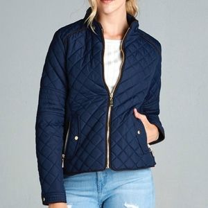 💥NEW💥Quilted Jacket with Suede and Gold Details